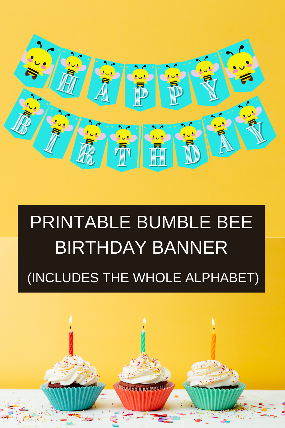 Yellow and Black Bumble Bee on a blue banner, with white lettering that says happy birthday