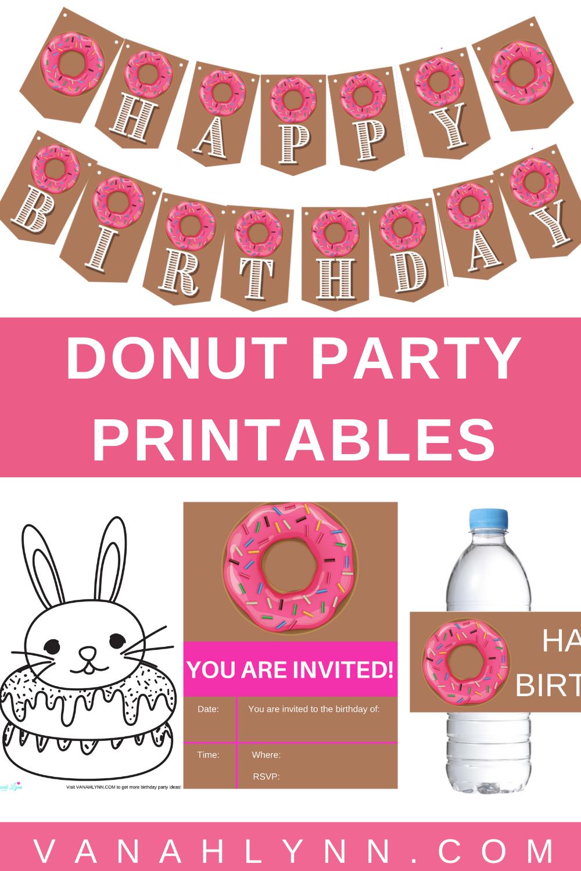 free printable doughnut birthday party kit
