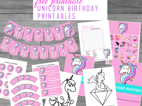 Unicorn Party Kit | Free Printable Unicorn Birthday Party Ideas | Unicorn Décor, Invites & Games