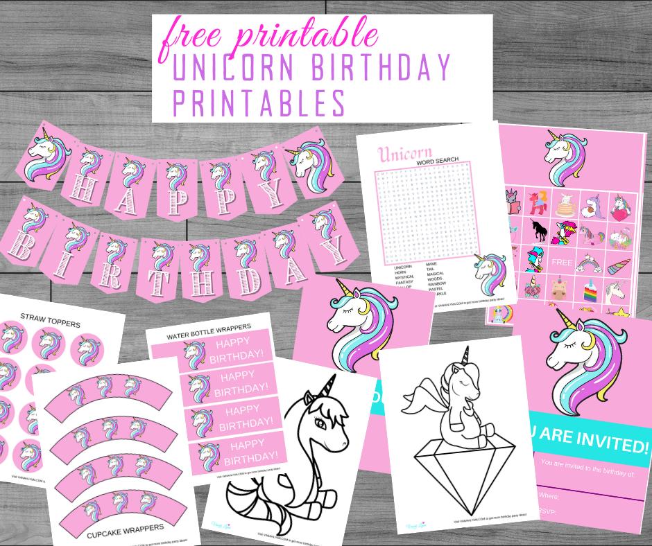 free printable unicorn party kit