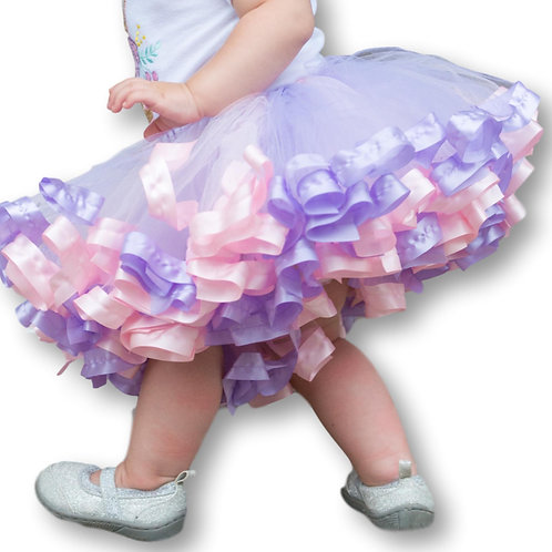 pink and purple tutu on toddler girl