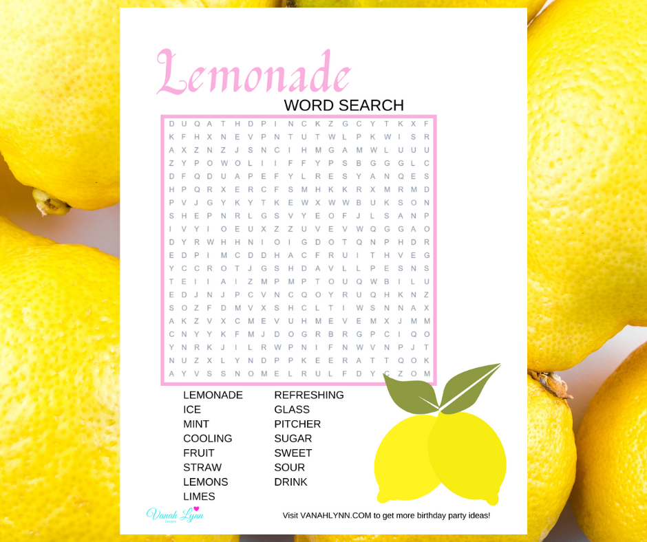 lemonade word search for kids birthday party