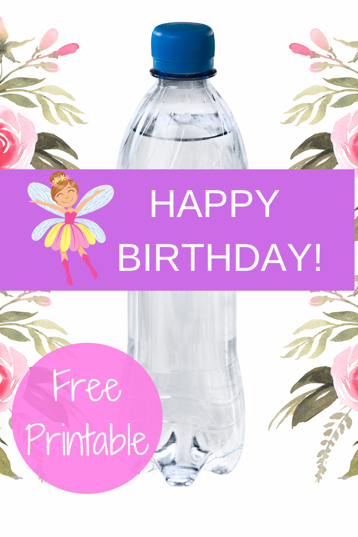 fairy garden 1st birthday party water bottle label