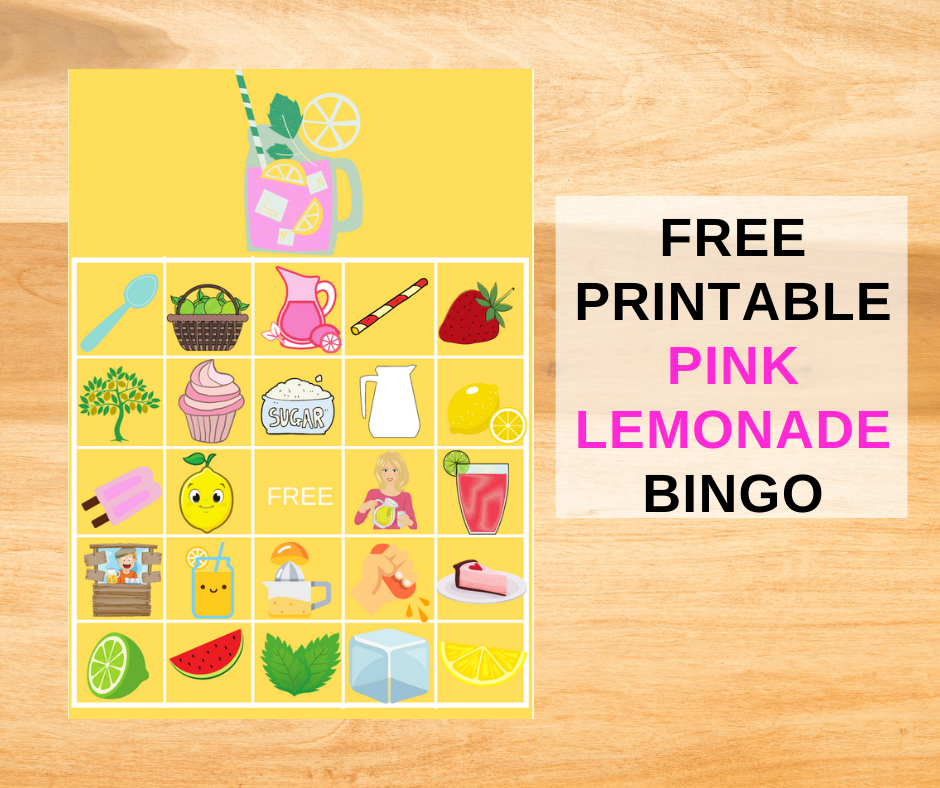 Pink Lemonade Bingo Game for a little girl's birthday party