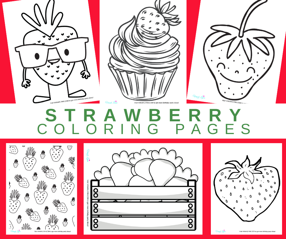 strawberry coloring pages for a strawberry themed birthday party