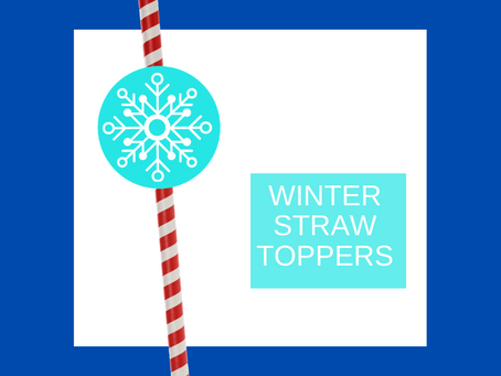 Winter Straw Toppers | Free Printable Winter Themed Birthday Party Ideas | DIY Winter Decorations