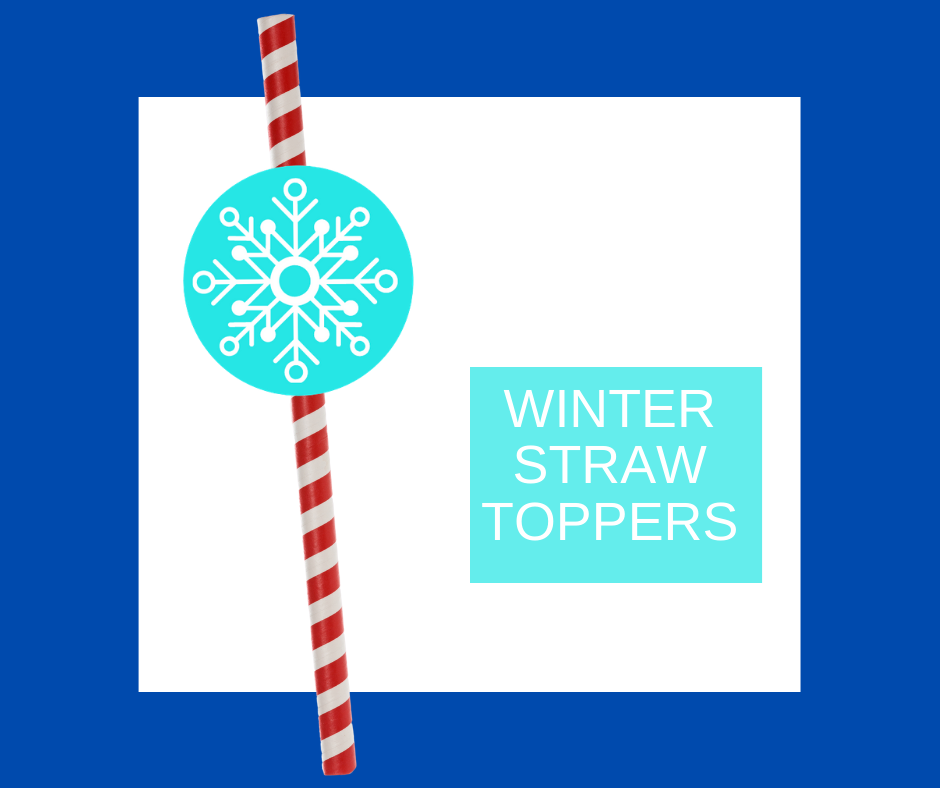 winter straw toppers for kids birthday party