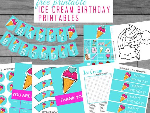 FREE Ice Cream Themed Birthday Party Ideas - Printables