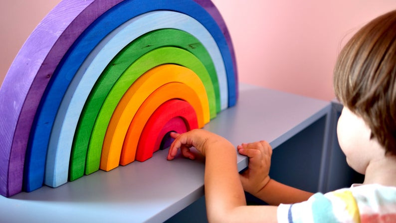 Rainbow stacking toy for toddlers