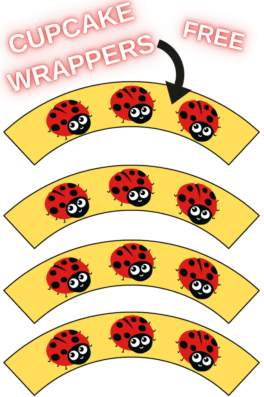 kids ladybug free printable cupcake wrappers