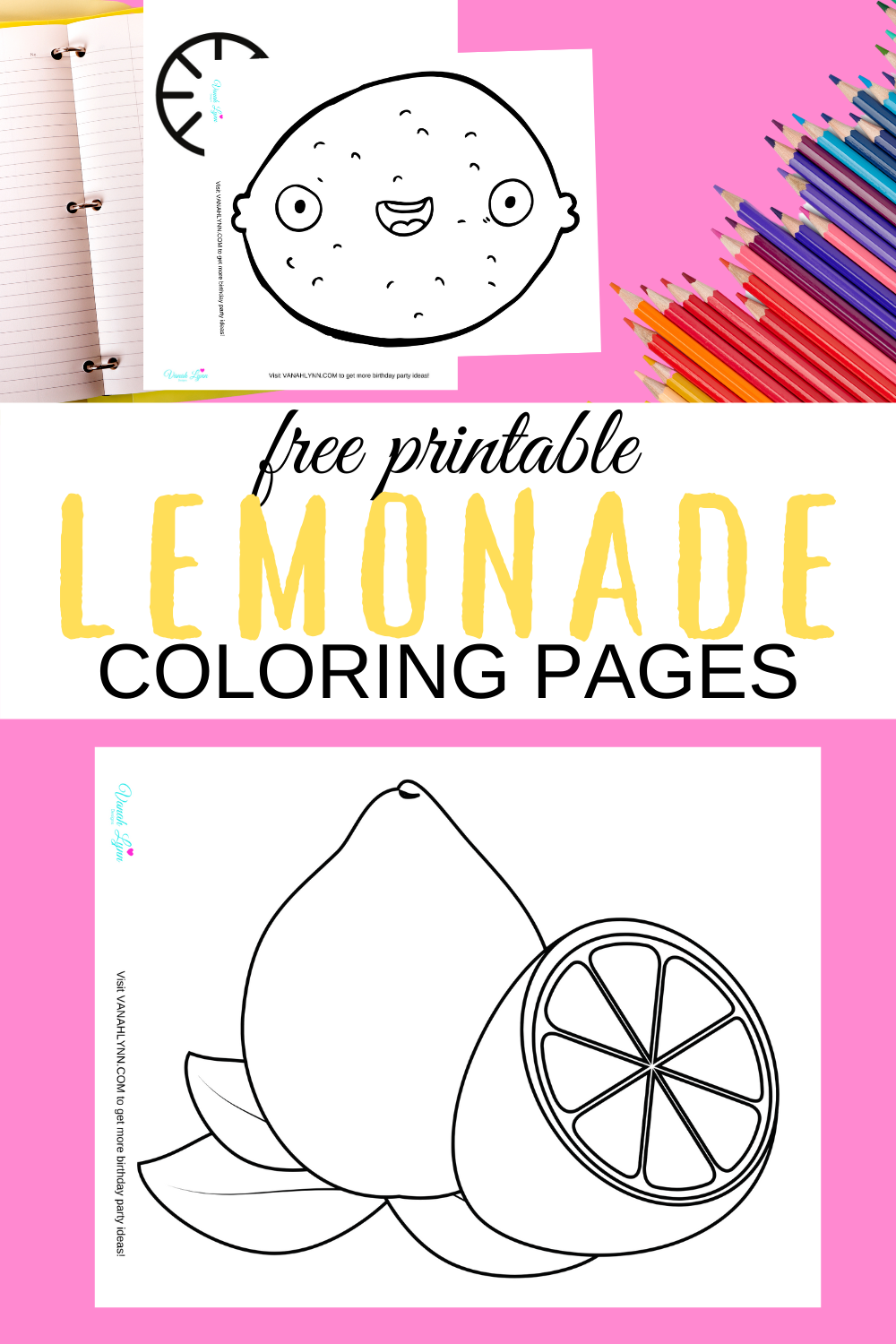 lemon coloring sheets for a summer rainy day activity