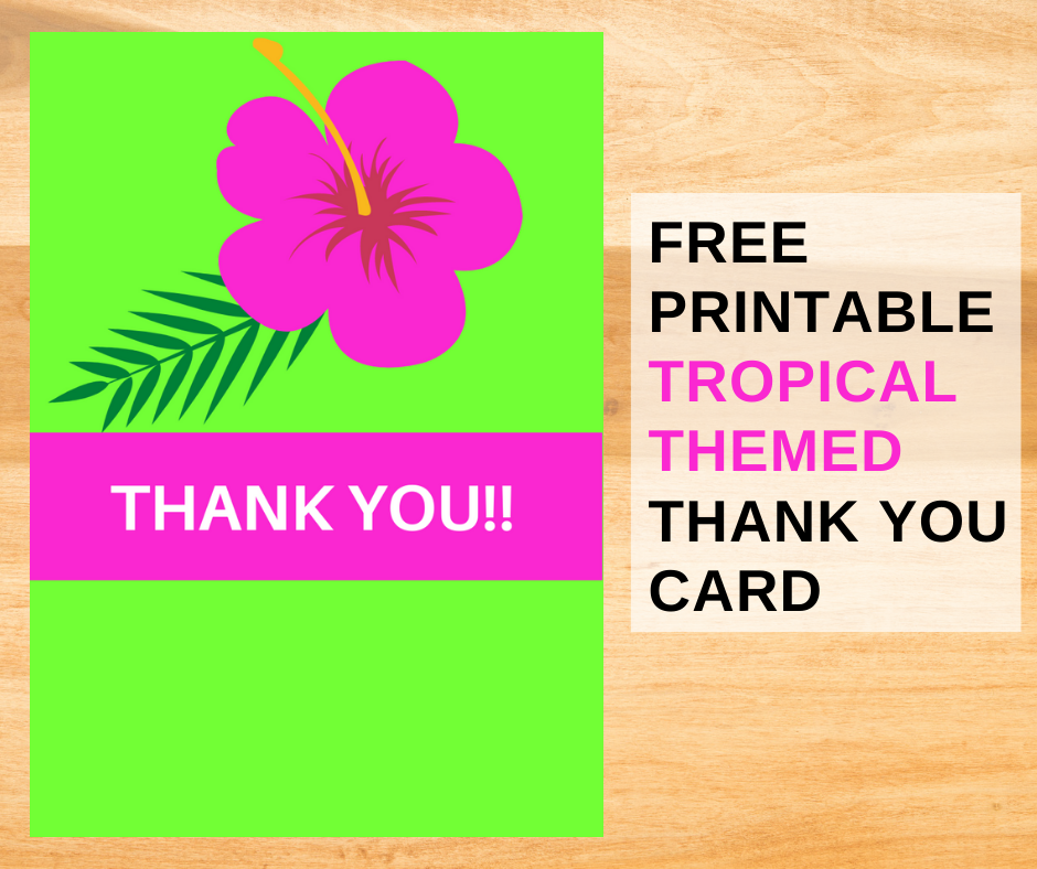 tropical birthday party thank you note for kids