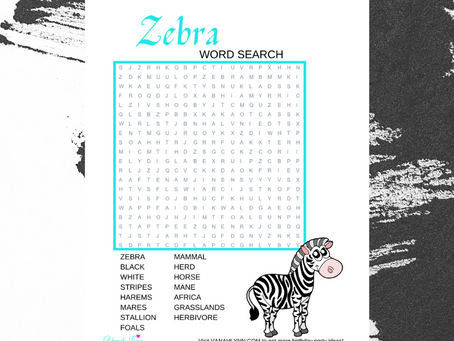 Zebra Word Search | Free Printable Zebra Themed Activity Sheet | Zebra Word Find for Birthday Party