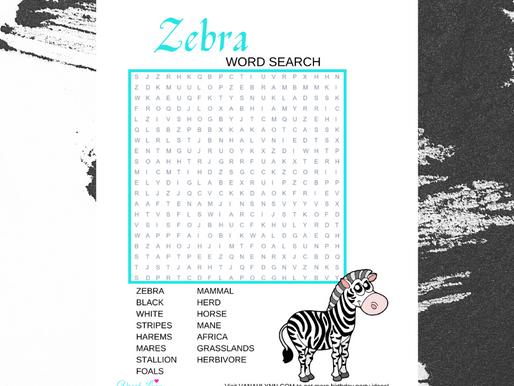 Zebra Word Search | Free Printable Zebra Themed Activity Sheet | Zebra Word Find for Birthday Party