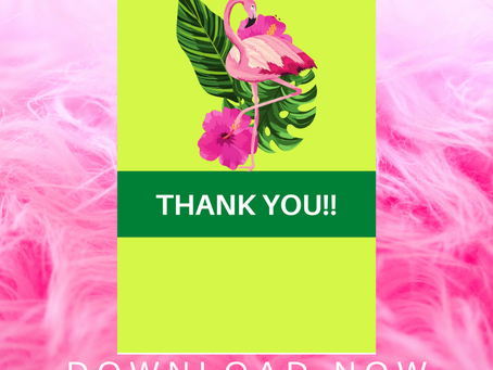 Flamingo Thank You Card | Free Printable Flamingo Themed Thank You Note | DIY Flamingo Party Ideas