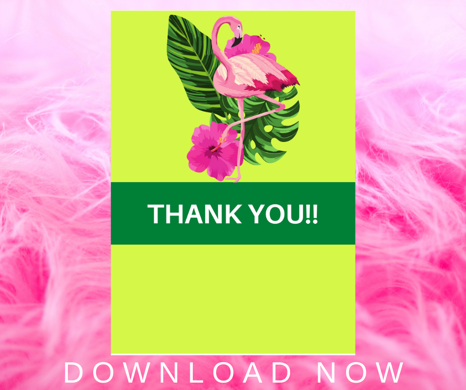 flamingo birthday party thank you note for kids