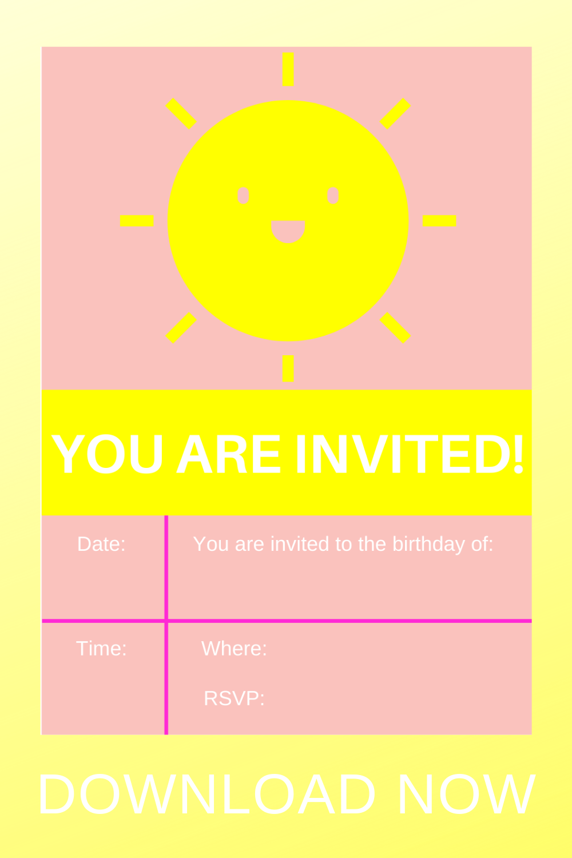 1st birthday party sunshine invite for kids