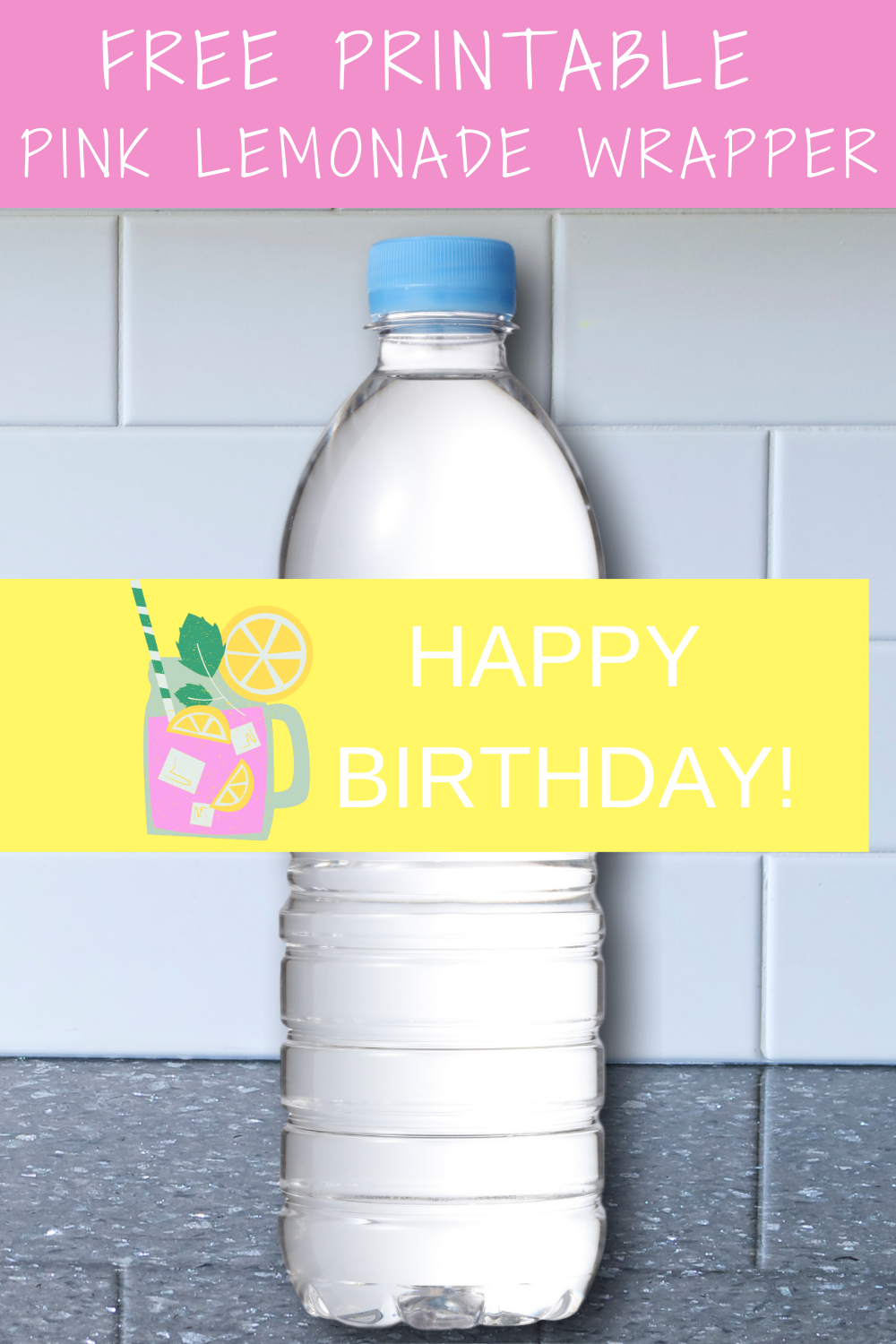 pink lemonade first birthday water bottle label