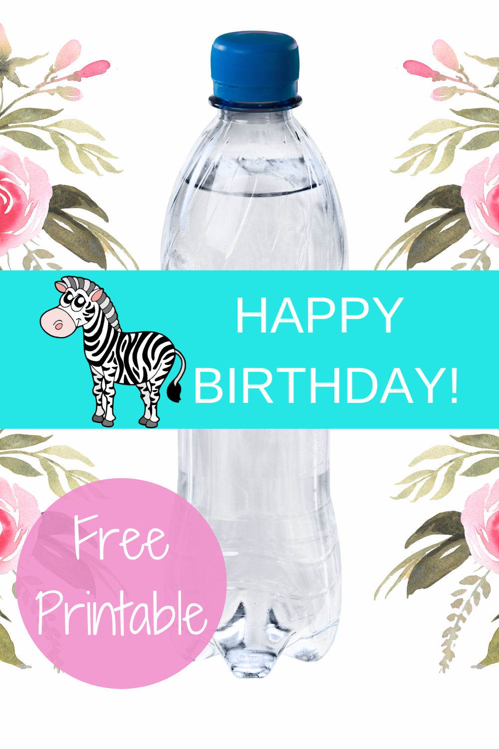 girls zebra first birthday water bottle label