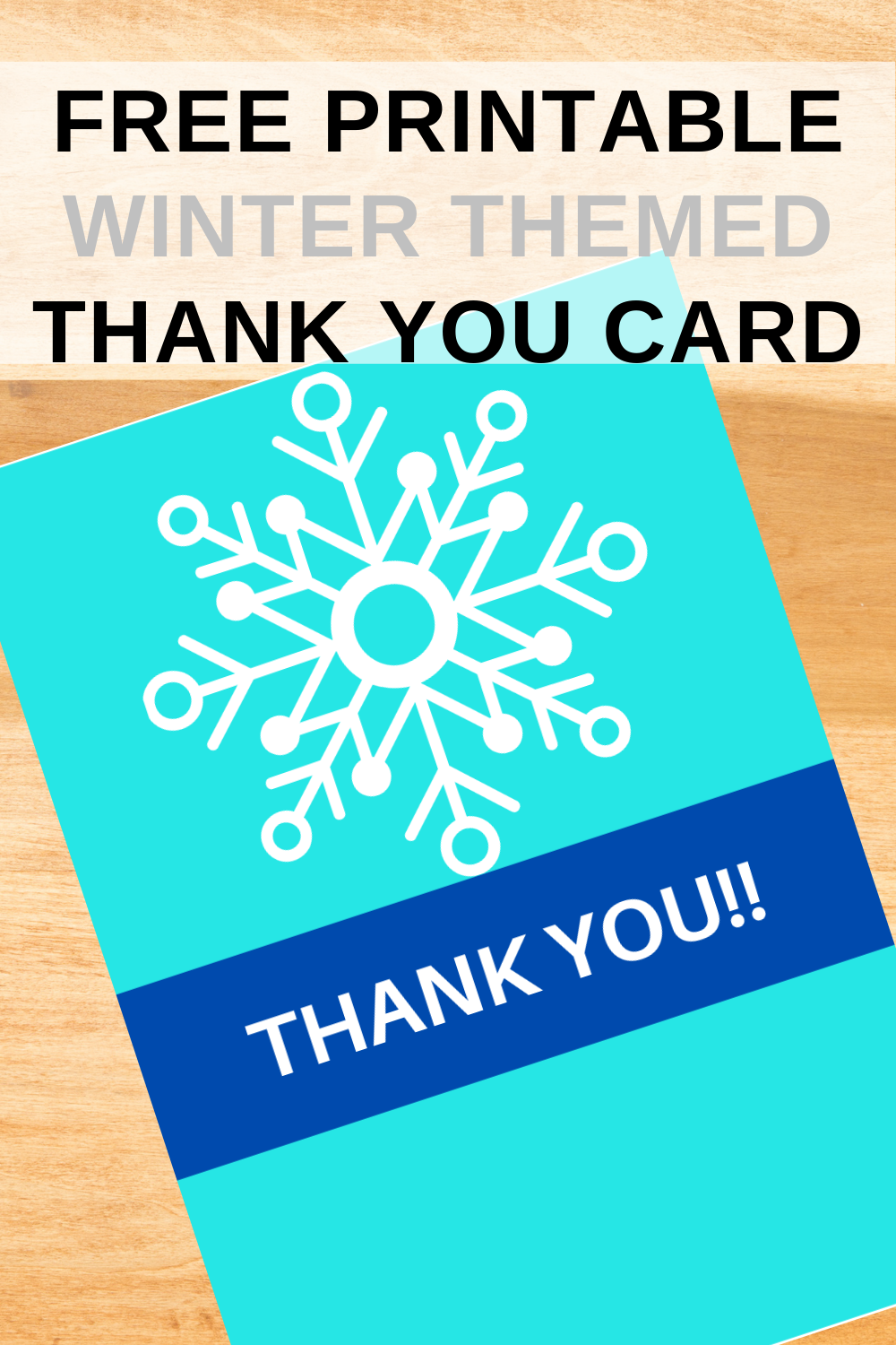 free printable winter themed thank you note