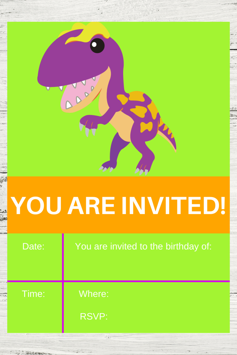 free download: printable birthday party card invite for a dino party