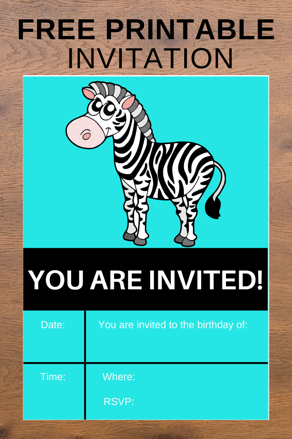 free download: zebra themed birthday party invite