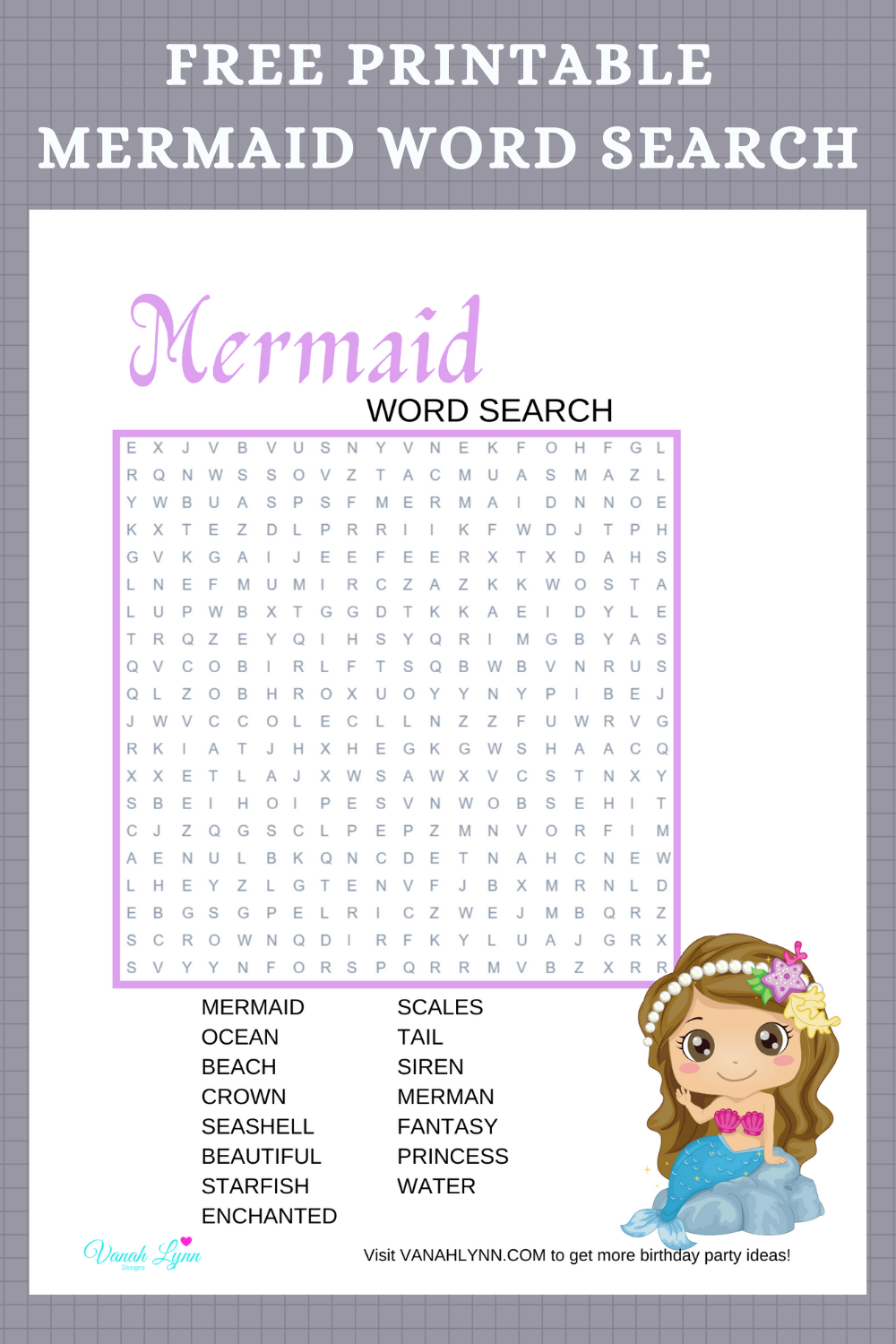 free printable under the sea word find for little girls birthday party