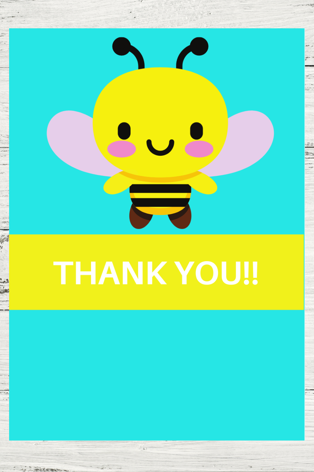 bumble bee birthday party thank you note for kids