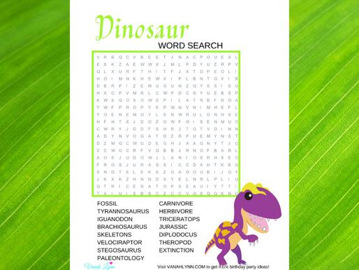 Dinosaur Word Search | Free Printable Dinosaur Themed Word Find | Dinosaur Activity Sheet Freebie