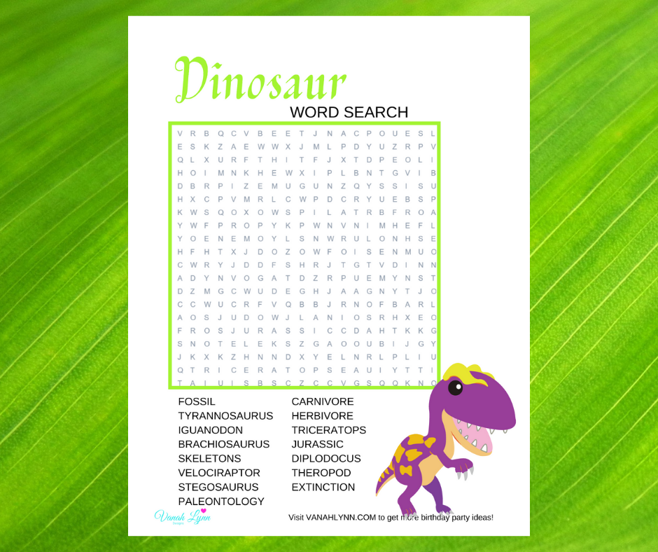 dinosaur word search for a kids birthday party