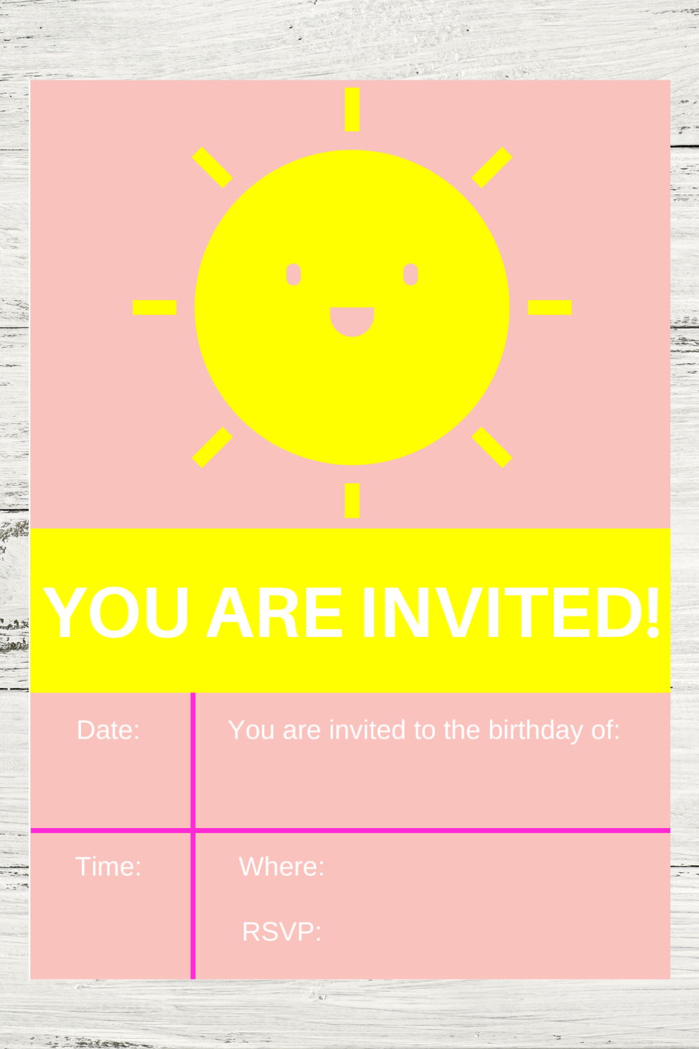 sunshine birthday party invite card for kids
