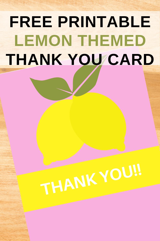 free printable lemonade thank you card for kids