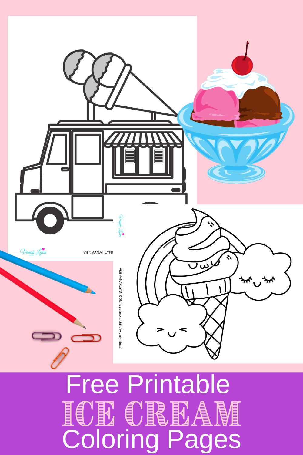 ice cream coloring sheets for a birthday party