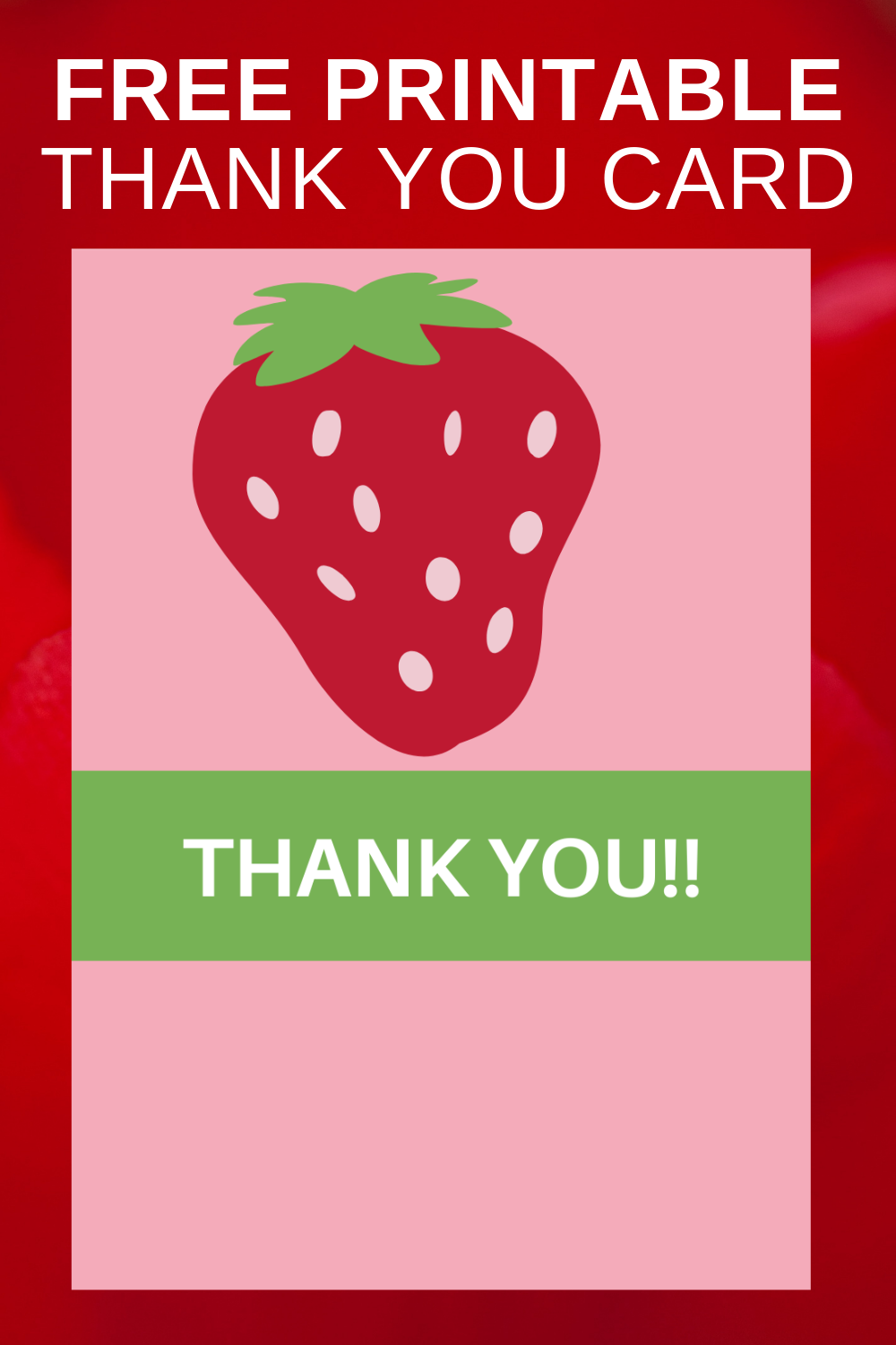 first birthday strawberry birthday party thank you card for toddlers