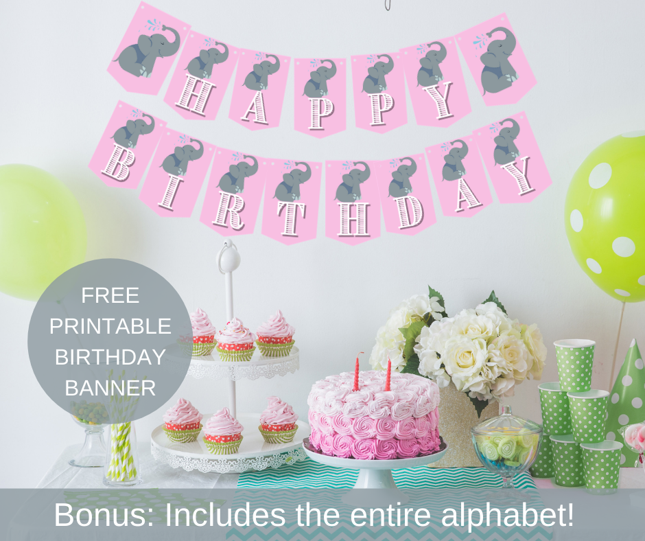 Elephant themed happy birthday banner for a 1st birthday
