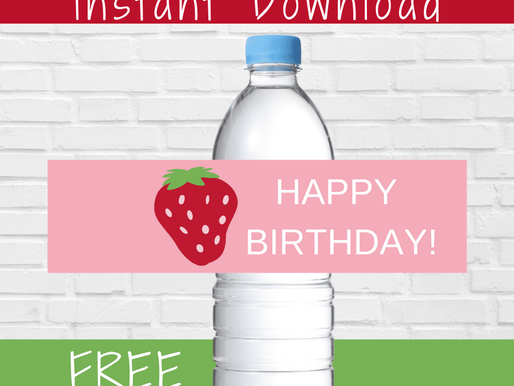 FREE Berry Themed Birthday Party Water Bottle Labels