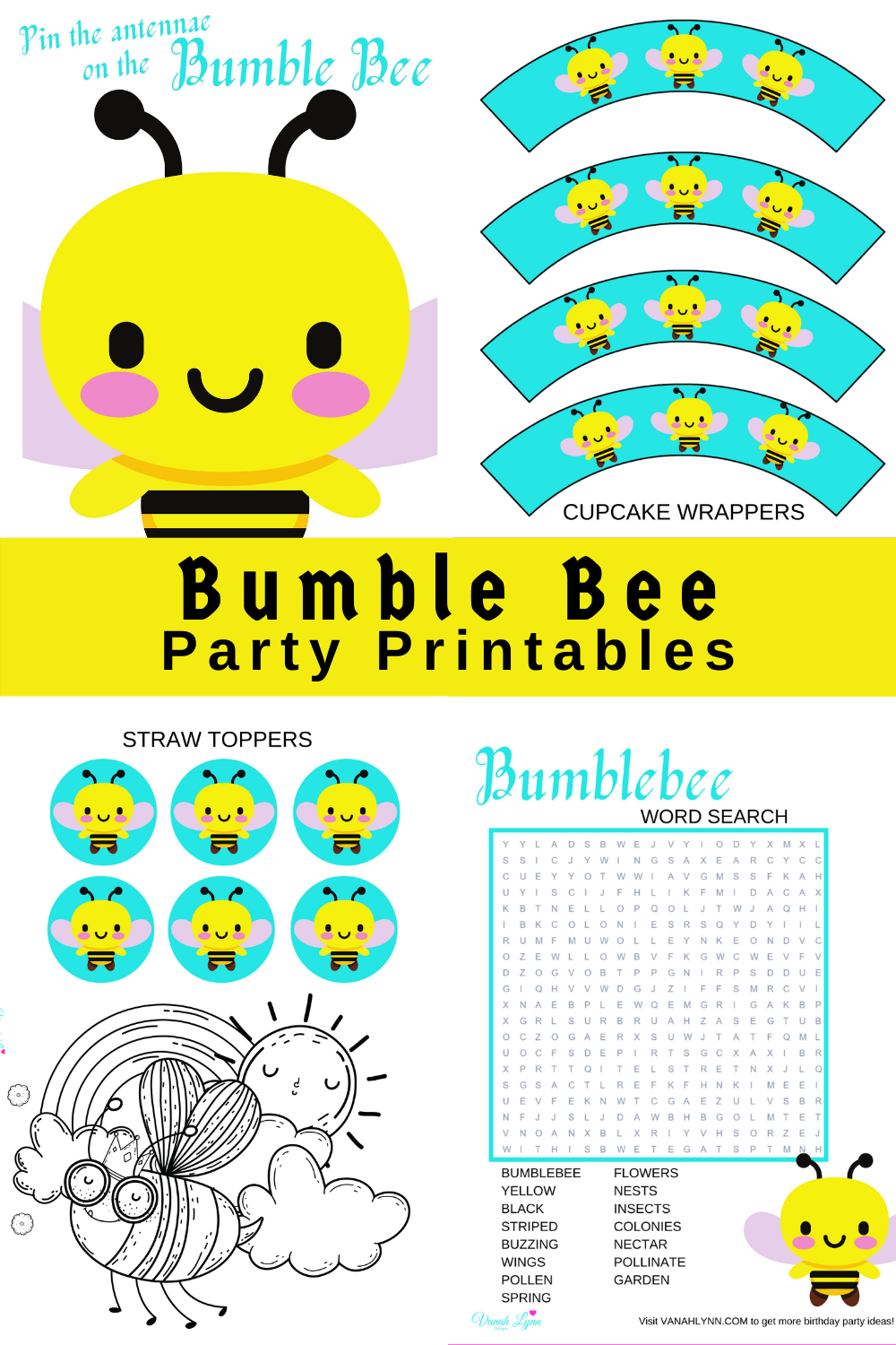 bumble bee birthday party printables for toddler birthday
