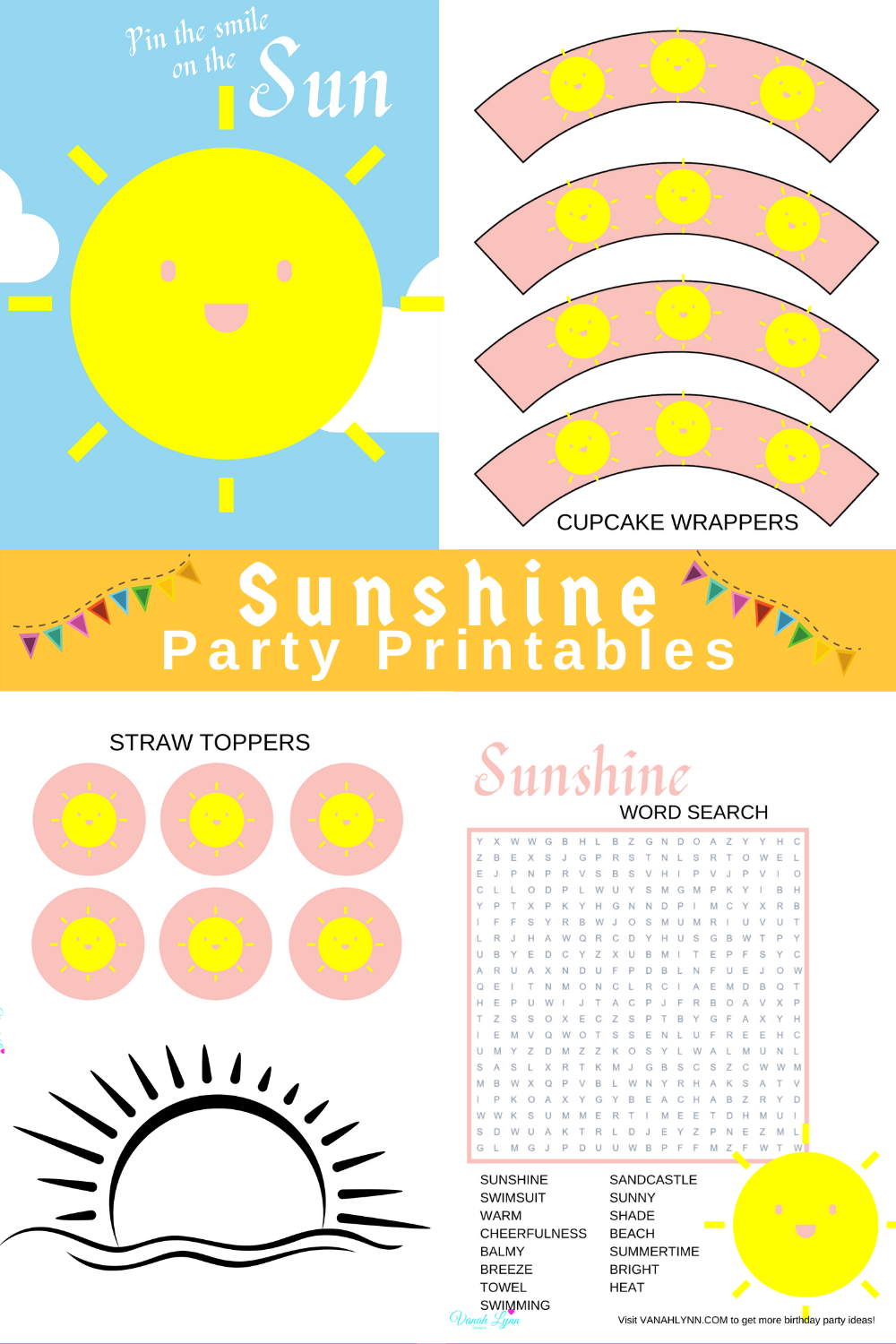 free printable pink and yellow party kit