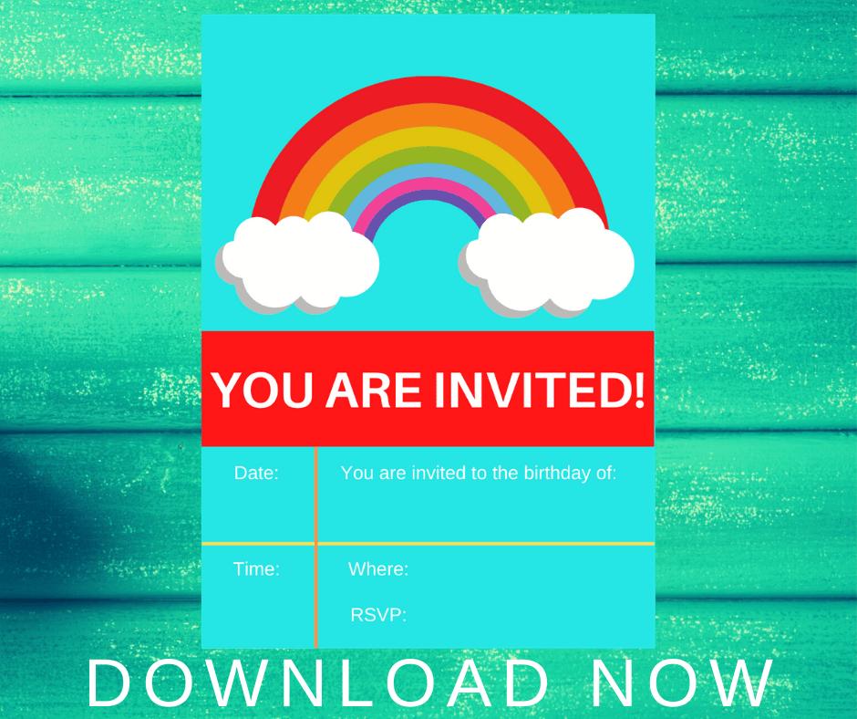 free printable birthday invitations rainbow