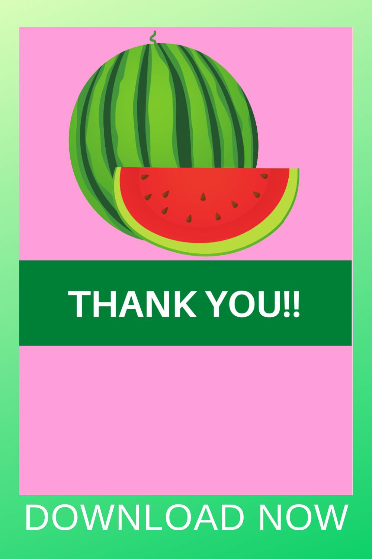 1st birthday girl watermelon thank you card