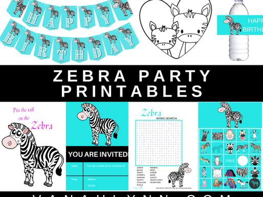 Zebra Party Kit | Free Printable Zebra Themed Birthday Party Ideas | DIY Zebra Décor, Games & Invite