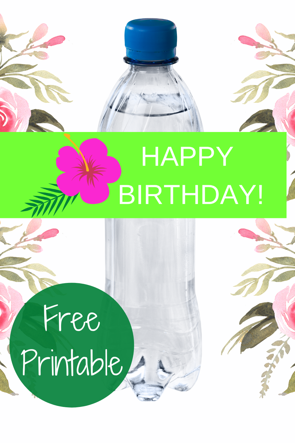free printable tropical themed water bottle wrapper