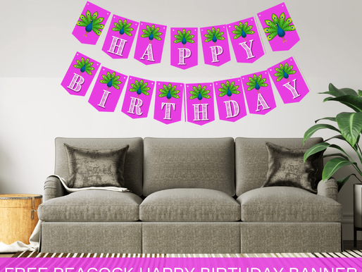 Free Printable Peacock Birthday Banner + Alphabet