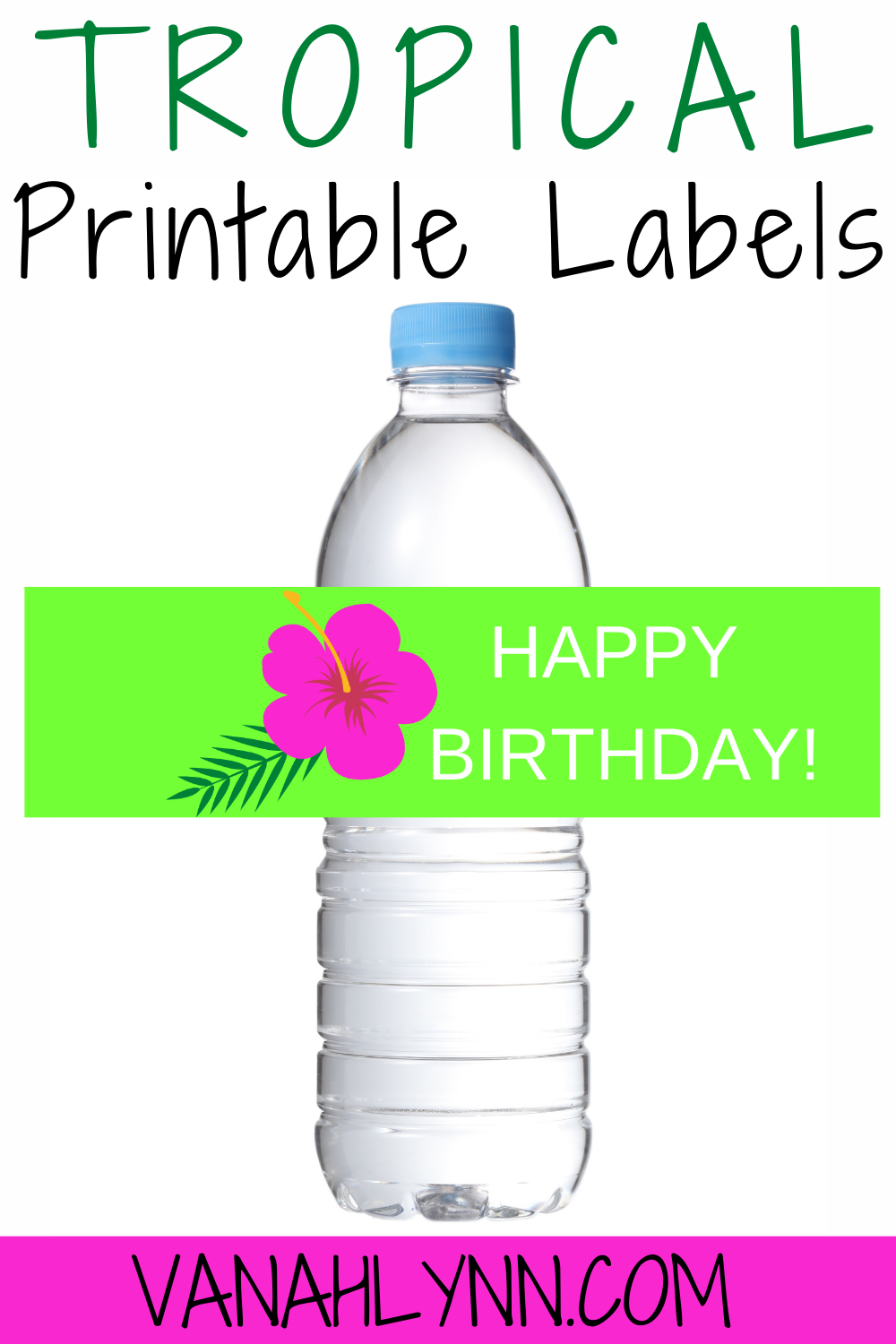 girls tropical first birthday water bottle label