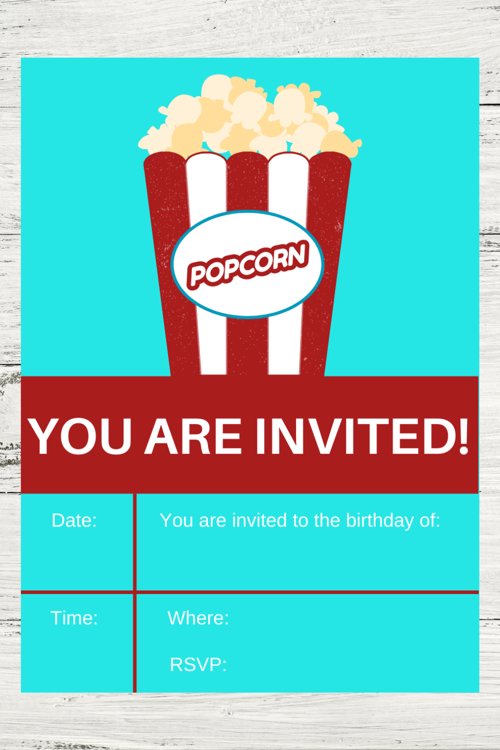 free printable invite with a bucket of popcorn on it