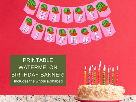 Watermelon Happy Birthday Banner and Watermelon Alphabet Banner | Watermelon Themed Party Decoration