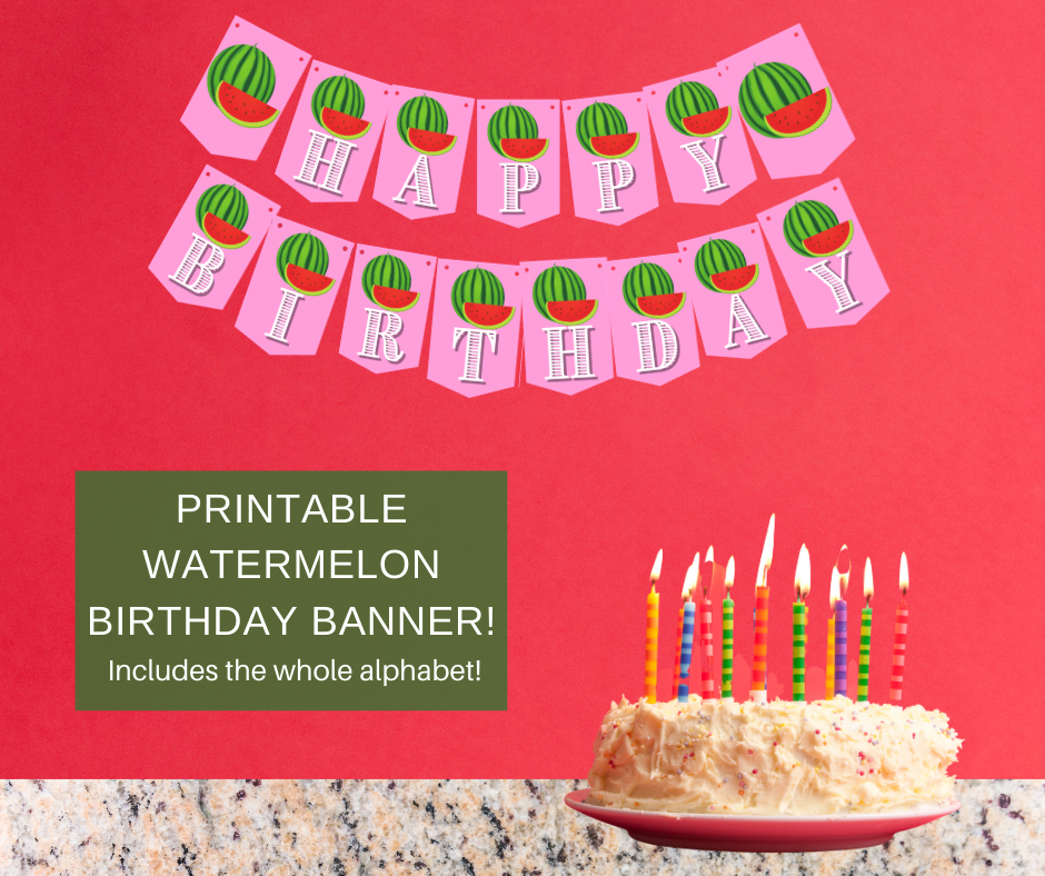 watermelon themed birthday party banner for little girls birthday party