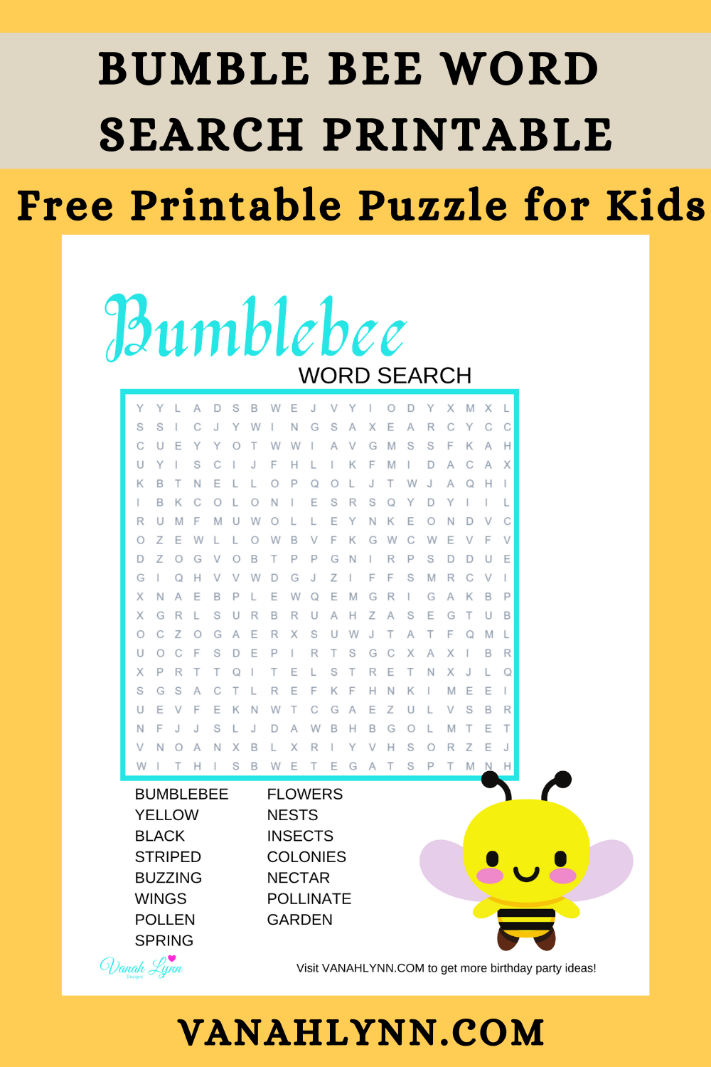 girls bumble bee birthday party activity ideas