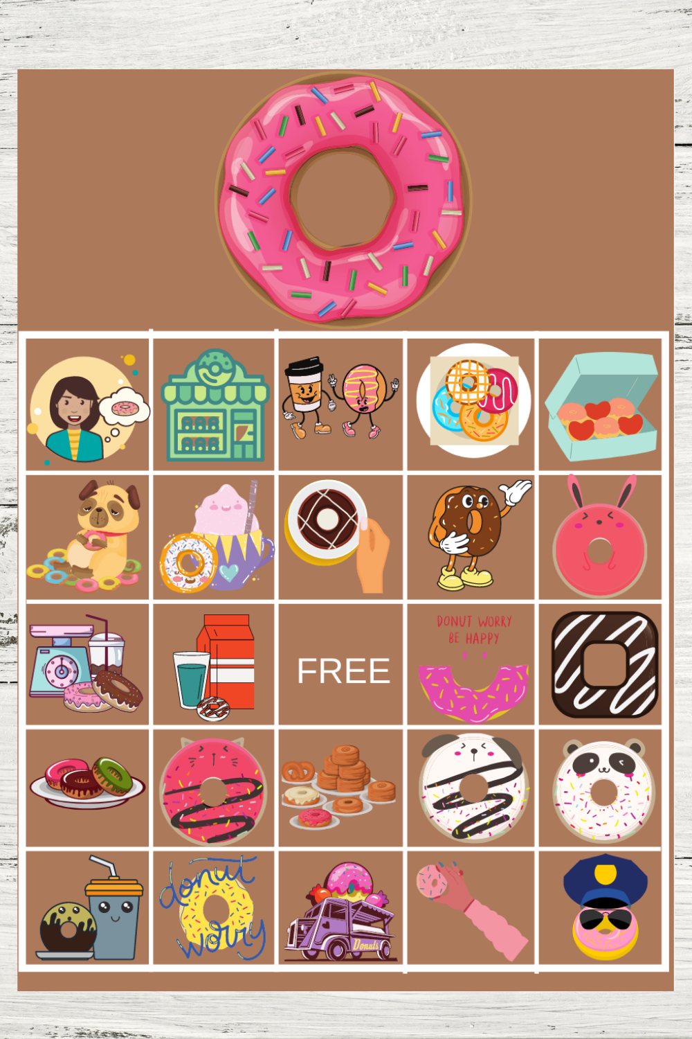 free printable donut themed bingo game