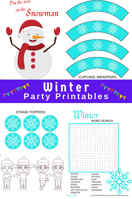 free printable snowflake party kit